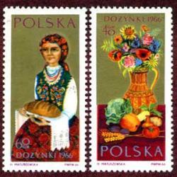 ポーランド 1966年収穫祭パンをもつ女性など2種
