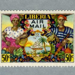 リベリア 1949年地図と市民など2種