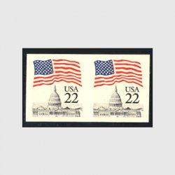 アメリカエラー切手 星条旗と議事堂22c・無目打ペア