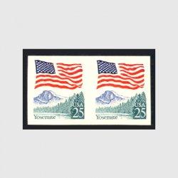 アメリカエラー切手 星条旗とヨセミテ25c・無目打ペア