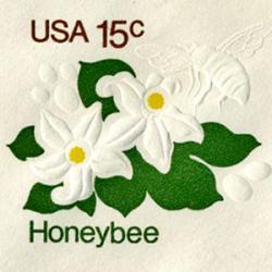 切手付封筒 アメリカ1980年ミツバチとオレンジの花15c