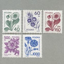 ポーランド 1989年花5種