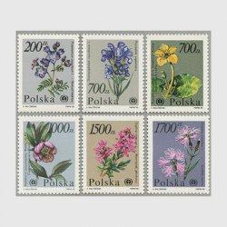 ポーランド 1990年花6種