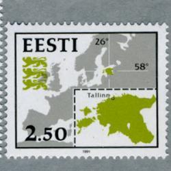 エストニア 1991年エストニアの地図と旗2種