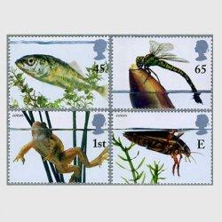 イギリス 2001年ヨーロッパ切手を含む(池のなかま)4種