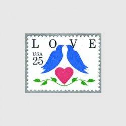アメリカ 1990年愛の切手2羽のインコ