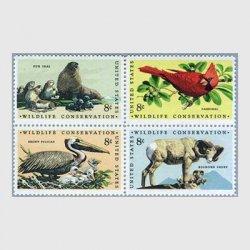 アメリカ 1972年野生動物保護4種連刷
