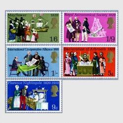 イギリス 1970年ナイチンゲール生誕150年(9d)など5種