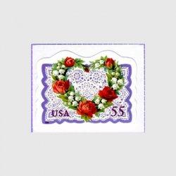 アメリカ 1999年愛の切手 レースのハート紫