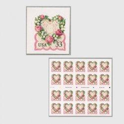 アメリカ 1999年愛の切手 レースのハートピンク