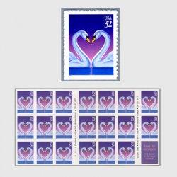 アメリカ 1997年愛の切手ハートのハクチョウ紫