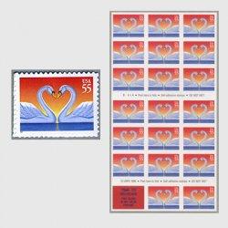 アメリカ 1997年愛の切手ハートのハクチョウオレンジ