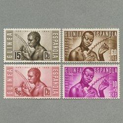 スペイン領ギニア 1953年弦楽器を奏でる人4種