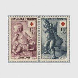 フランス 1955年赤十字切手2種