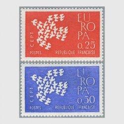 フランス 1961年ヨーロッパ切手 19羽のハト2種