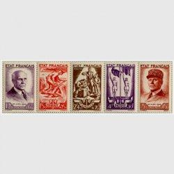 フランス 1943年 ペタン元帥5種連刷