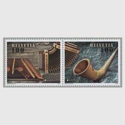 スイス 2014年ヨーロッパ切手楽器2種連刷