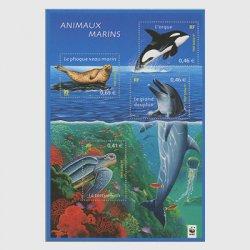 フランス 2002年フランスの自然(海の生物)・小型シート