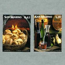 サンマリノ 2005年ヨーロッパ切手「食」パンとワイン2種