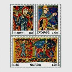 ノルウェー 1976年13世紀のバルディショールのタペストリー3種