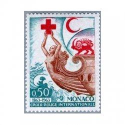 モナコ 1963年赤十字をかざした女性の船首像