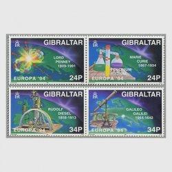 ジブラルタル 1994年ヨーロッパ切手4種