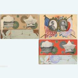 絵はがき 日米間海底電信直通3種 -東京警眼社 ※一種表にヘゲ