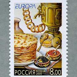 ロシア 2005年ヨーロッパ切手キャビアとクレープ