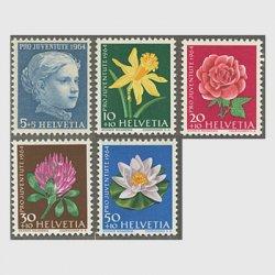 スイス 1964年児童福祉 ラッパスイセンなど5種