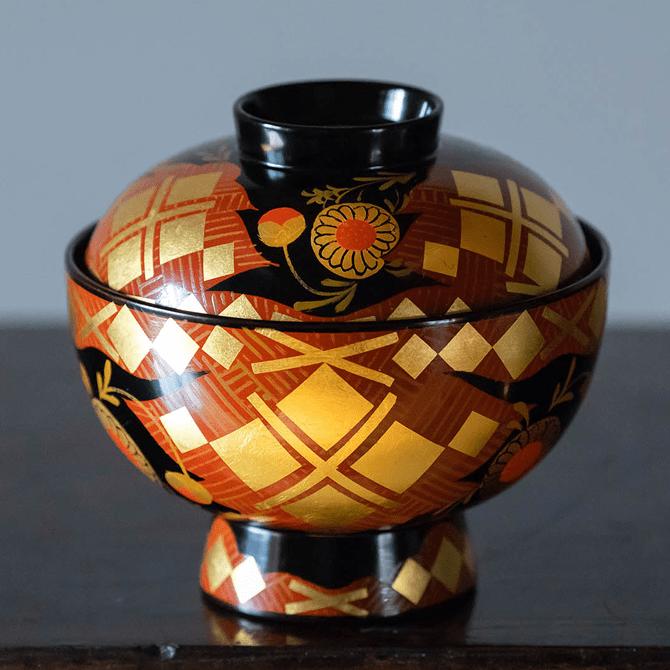煮物椀(古代菊・南部箔)