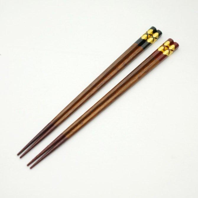 秀衡八角箸(黒/朱/めおと)