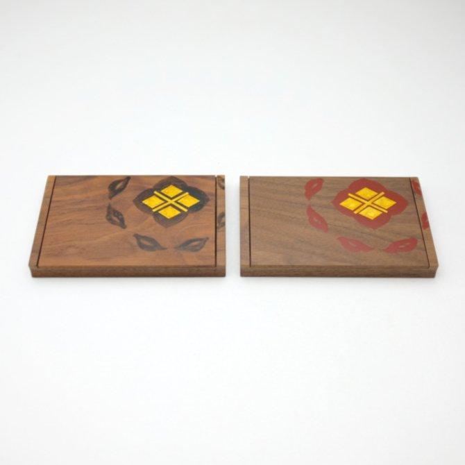 宝相華唐草 名刺ケース (黒板)(黒/朱)