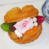 プリザーブドフラワー・シュークリームケーキ・アレンジケース付送料無料