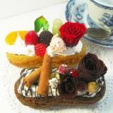 お誕生日にプリザーブドフラワー・エクレアケーキアレンジケース付送料無料