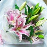 ピンクのオリエンタル百合5本の花束およそ25輪つき一部地域は送料無料