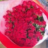 サプライズな贈り物お祝いに最高級の国産赤いばらの花束100本