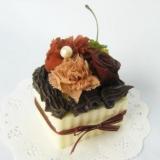 プリザーブドフラワー・チョコレートショートケーキアレンジケース付