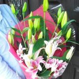 ピンクのオリエンタル百合3本の花束