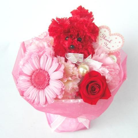 母の日にプードル飾りの花束プリザーブドフラワーガーベラとバラ