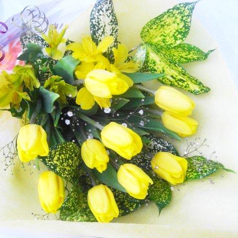 季節の花一種の花束チューリップ黄色又はオレンジ系10本一部地域送料無料