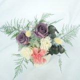 送料無料お供え用にもお勧め菊のプリザーブドフラワー和風アレンジ、紫