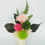 ピンポン菊とカーネーションのプリザードフラワー和風アレンジ