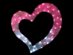 LEDプレーンハート ホワイト&ピンク