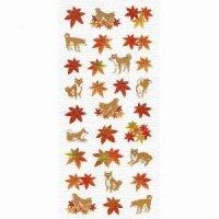 秋いろ和風シール 紅葉と柴犬
