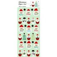クリスマスペーパーシール メリークリスマスとサンタクロース