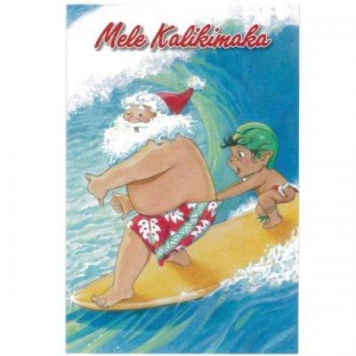 【Pick the Hawaii】サンタサーフ・グリーティングカード