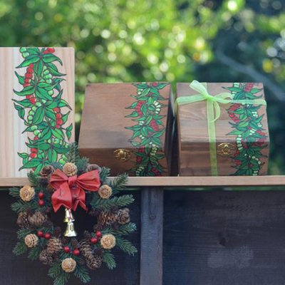 【Hawaiianpaint KAN】 木のBOX・・オヘロ&マイレレイ