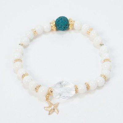 【Lehua】トロピカルアロマ天然石ブレスレット・ホワイトAJ08
