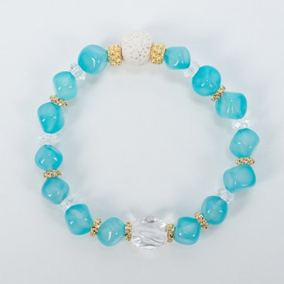 【Lehua】トロピカルアロマ天然石ブレスレット・ブルーAJ10