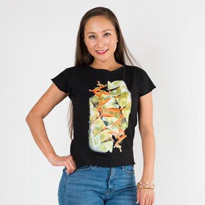 【Sabado】サバドデザイン ストレッチTシャツ(ヘリコニア) ブラック